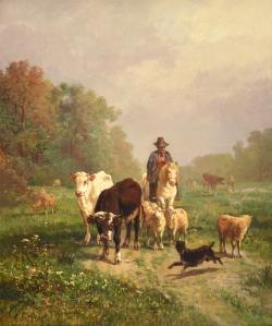 pastor con ganado vacuno